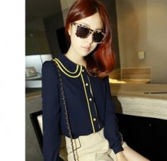 imports autumn retro cool heiress of England and Europe hit color blue yellow chiffon shirt Blue Yellow, Color Blue, Chiffon Shirt, Deep Blue, Blouses For Women, Contrast, Halloween Face Makeup, Fancy, Retro