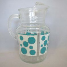 Vintage 1960s aqua and white polka dot ribbed by AtomicDimestore, $24.95