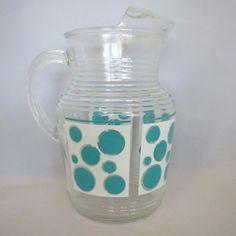 Vintage 1960s aqua and white polka dot pitcher