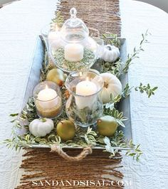 I have a platter that lives on my dining table (it's too big for the cupboard), this would be really cute to do - Thanksgiving/ Fall Tablescapes :: Hometalk