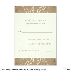 Gold Baby's Breath Wedding RSVP Cards