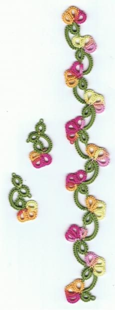 Spring Flowers Jewelry ..... Beautiful ! Pattern : Spring Flowers Bookmark by Julie Patterson : http://www.ringoftatters.org.uk/patterns/jpatterson/jp.html
