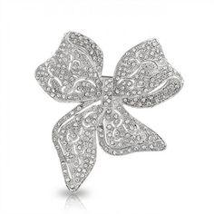 Large Bridal Crystal Vintage Style Bow Brooch Ribbon Pin Silver Tone