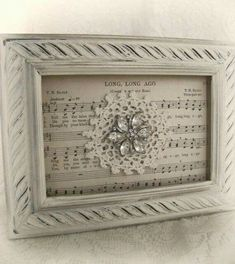 Shabby White Decor Altered Lace Art Vintage Rhinestone Collage Wall Art Cottage Chic Style Vintage Style Vintage Lace Framed Rhinestone - Diy Crafts for The Home Shabby Chic Crafts, Vintage Crafts, Shabby Chic Decor, Doily Art, Lace Art, Doily Bunting, Wedding Picture Walls, Sheet Music Crafts, Music Paper