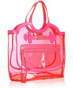 Jimmy Choo hot pink patent trim PVC 'Dylan' oversized tote at Bluefly