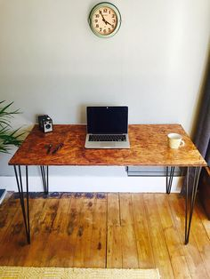 OSB industrial desk with black steel hairpin legs and steel