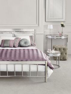 Doesn't this bedroom just ooze glamour! Our Gleam bedstead pairs perfectly with lilacs and silvers! Next Bedroom, Small Master Bedroom, Dream Bedroom, Lavender Cottage, Cute Home Decor, Lilacs, New Room, Interior Inspiration, Chloe