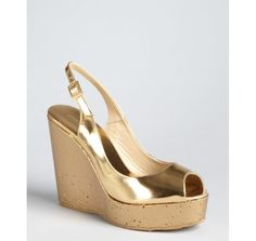 Jimmy Choo metallic gold leather painted cork 'Prova' wedges