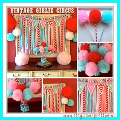 Party In A Box Party Kit for Vintage Girlie Circus, Children's Birthday Party, Party Decorations by prettimini on Etsy https://www.etsy.com/listing/217045683/party-in-a-box-party-kit-for-vintage