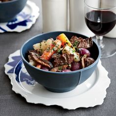 To layer the flavors in this dish, chef Rory Herrmann at Bouchon in Beverly Hills marinates beef short ribs and vegetables in red wine overnight, then uses the marinade in the braise as well. Spring vegetables help lighten the rich stew.