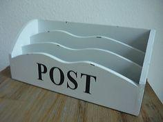 Briefablage POST Holz Weiß Shabby Postfach Briefe Briefständer weiss Ablage