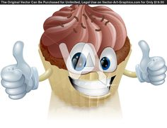Dessert with cartoon faces on it   Vector Graphics of A Happy Chocolate Cupcake Mascot Smiling With A ...