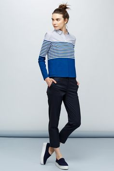 top knot, blue stripes & sneakers #style #fashion #hair