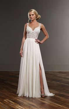 Martina Liana's sexy wedding dress seperate combination features the Blair bridal bodysuit and the Shae silk wedding skirt.