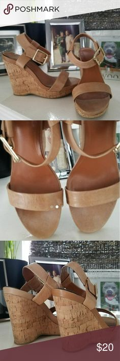 """:: Calvin Klein """"Nikole"""" wedge 6 :: Super cute, great quality Calvin Klein wedges in a nice light tan / nude color that will go with so much!  Cork wedge. Name is """"Nikole"""", size 6.   MINOR FLAW - Once I was taking the pics, I noticed the back part above the cork, is a slightly darker color than the other, but not on the rest of the shoe. Obviously was NOt noticeable to my sister because she wore them! :) I didnt notice til I was taking a pic. Calvin Klein Shoes Wedges"""
