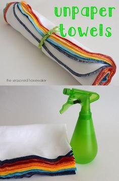 DIY - TUTORIAL - UNPAPER TOWELS  What is an UnPaper Towel and how do you use it?  UnPaper Towels are reusable cloth towels that are useful for cleaning up spills and wiping off counters. They wash and dry beautifully.   A perfect paper towel replacement that is eco-friendly and cost effective. A dozen will hold up for a year or more.