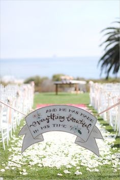 Wedding sign at wedding ceremony. Captured By: Becky Schwartz Photography & Studio Benjamin James ---> http://www.weddingchicks.com/2014/06/04/300-plus-wedding-made-intimately-cozy/