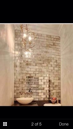 Bathroom or kitchen backsplash. I want this for our bathroom with twin sinks in front