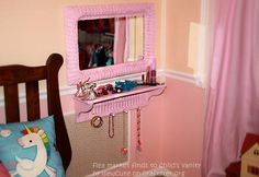 Flea Market Finds to Child's Vanity & Jewelry Organization - Easy DIY project