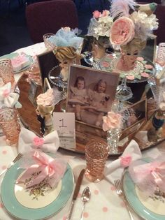 "Mothers Day Banquet table display - ""Precious Memories"" - Lady Head vases, Cunningham & Picket Blue Danube China, pink Whitehall glasses"