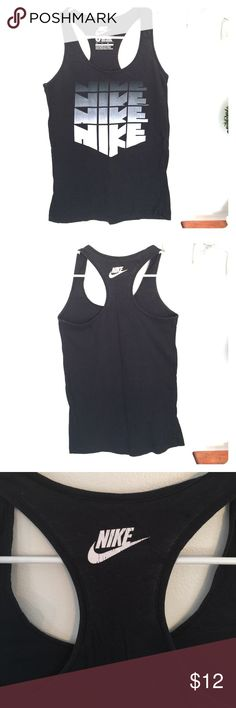 Nike ombré logo tank Nike ombré logo tank. Slim fit and a flattering longer length. Some cracking of logo on back as shown in last picture. Nike Tops Tank Tops