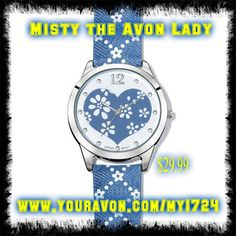 """Denim Petals Watch: Flower power! Unique 9"""" L denim strap proves that you can really wear jeans anytime, anywhere! Silvertone case. Shop online @(www.youravon.com/my1724) or just click on the pin!!"""