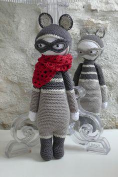ROCO the raccoon made by filante / crochet pattern by lalylala