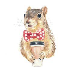 Squirrel Watercolor ORIGINAL Painting - Coffee Squirrel, 8x10 Illustration, Fox Squirrel
