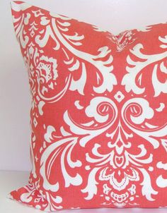 Coral Damask Pillow.16x16 inch.Decorator Pillow Cover.Printed Fabric Front and Back.Home Decor.Housewares.Cushion Cover