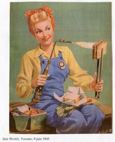 June 1945 illustration. Rosie the Riveter finds another use for her blowtorch at lunchtime.