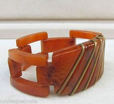 The one that got away: VINTAGE ART DECO CHUNKY TORTOISE BAKELITE HINGED LINK BRACELET~BRASS INLAY~MINT!
