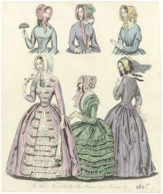 Anonymous | The World of Fashion, Febr. 1845 : The Last & Newest..., Anonymous, 1845 | De laatste en nieuwste modes van 1845 uit Londen en Parijs. Ochtendjaponnen met getailleerd lijfje en wijde geplooide rok. Lange nauwsluitende mouwen, sommige met (losse) geplooide ondermouwen. Accessoires: luifelhoeden versierd met bloemen en/of sluier, handschoenen, parasol, zakdoek. Prent uit het modetijdschrift The World of Fashion (1824-1891).