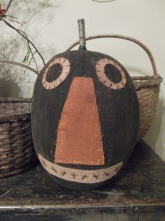 Large Grungy Black Pumpkin, Amy Duncan design at *The Farm*. Call to purchase (217) 742-5050. Available in black, orange or white.  Small also available.
