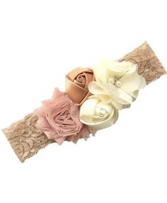 Newborn Roses Headband With Chiffon Flowers, Lace and Rhinestones