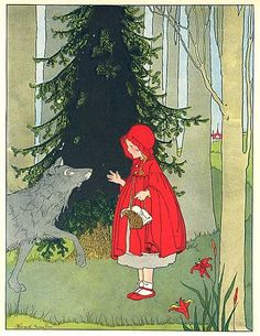Vintage 1930 Red Riding Hood Fairy Tale Story Illustration Print by Margaret Evans