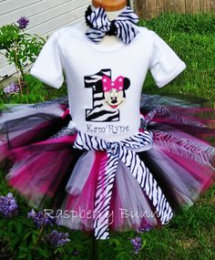 Zebra Number Minnie Mouse 1st Birthday Outfit by TheRaspberryBunny, $49.95
