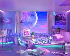 Cute Bedroom Ideas, Cute Room Decor, Girl Bedroom Designs, Room Ideas Bedroom, Bedroom Decor, Neon Bedroom, Girls Bedroom, Bedrooms, Neon Aesthetic