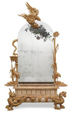 A whimsical Venetian carved giltwood and paint decorated mirrored back jardinière second half 19th century
