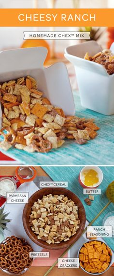This recipe for homemade Cheesy Ranch Chex Mix is really versatile! Serve it as part of your birthday party menu, your work pot luck or just as a snack to enjoy with friends as you are watching a movie or the big game. Amp up the cheese or the ranch seasoning (or both) if you like your snack flavor bold.