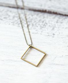 Kette mit quadratischem Anhänger, Messing // necklace cube, hipster style by pikfine via DaWanda.com