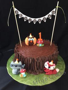 Forest creatures 1st birthday cake
