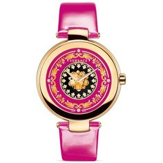 Versace Mystique Foulard Round Rose Gold Pvd Watch, 38mm (€1.690) ❤ liked on Polyvore featuring jewelry, watches, accessories, pink, rose gold watches, pink gold watches, red gold jewelry, pink gold jewelry and rose gold jewellery