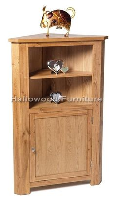 New Solid Oak Medium Tall Corner Display Unit Cabinet Cupboard With Door Shelf