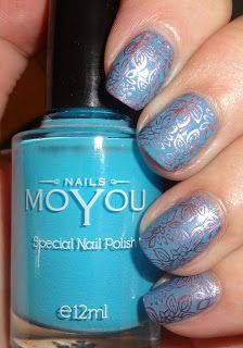 Wendy's Delights: MoYou Nails Stamping Plate 401 & MoYou Nails Stamping Polishes. 20% DISCOUNT CODE WENDSP @moyounails #moyou #moyounails #stamping #nailart #bluenails #mauvenails