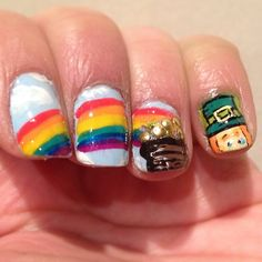 lucky charms, st patricks day nail design nail art. green nail polish, rainbow nails art #makeupbysehar