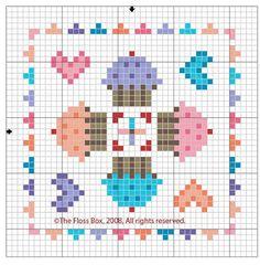 Artes da Nique: Ponto cruz gráfico Cupcakes