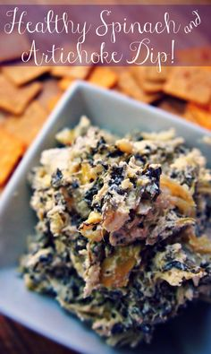Healthy Spinach and Artichoke Dip - Game Day Dip!