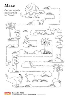 Dinosaur maze printable activity sheet. Can you help the  dinosaur find his friend? Free activity sheets from Dinosaur Roar! #DinosaurRoar #kids #dinosauractivities #dinos #activitysheets Click on the image to be taken to the full size image for you to download.