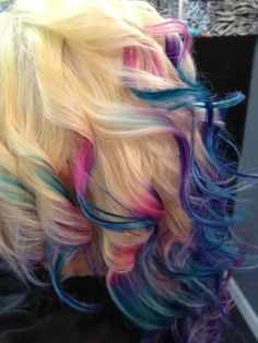 Blonde ombre dip dyed hair color                              …