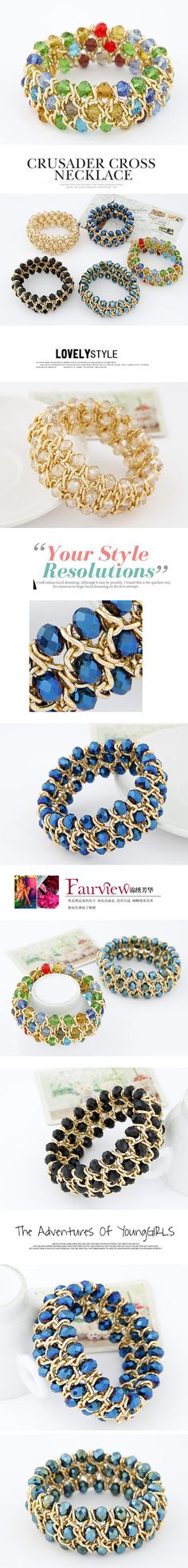 Wholesale Fácil partido cristal elegante tejida brazalete elástico (azul real) | Callesetas